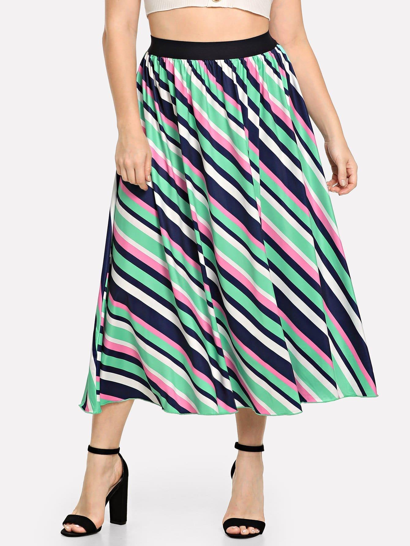 Купить Большая полосатая юбка клёш и с широким поясом, Isabela, SheIn
