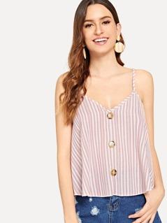 Vertical Stripe Buttoned Cami Top