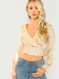 Tie Front Ruffle Long Sleeve Blouse