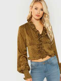 Polka Dot Ruffle Crop Blouse