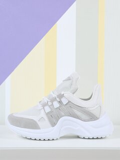 Chunky Mesh Two Tone Lace Up Sneakers