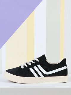 Lace Up Sneakers with Stripe Detail
