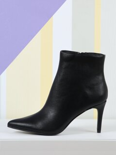 Pointed Toe PU Ankle Boots