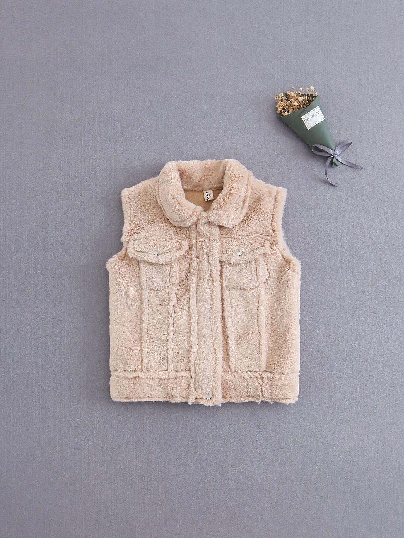 Купить Для девочек тедди пальто из искусственного меха, null, SheIn