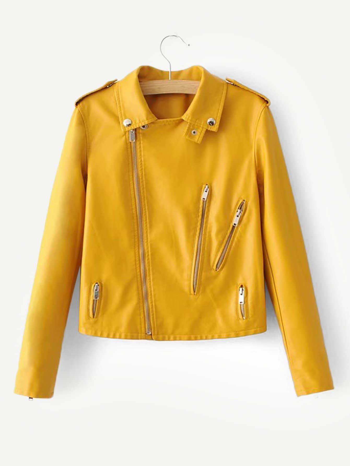 Купить Скала Одноцветный на молнии Желтый Жакеты + Куртки, null, SheIn
