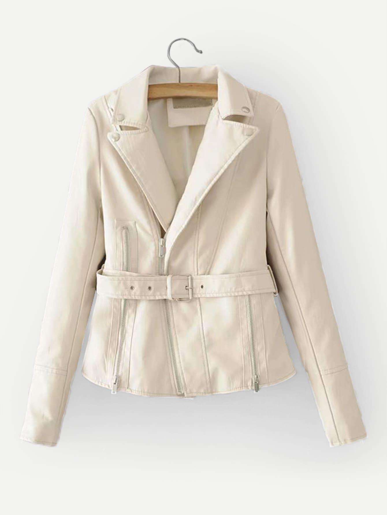 Купить Повседневный Одноцветный на молнии Молочно белый Жакеты + Куртки, null, SheIn