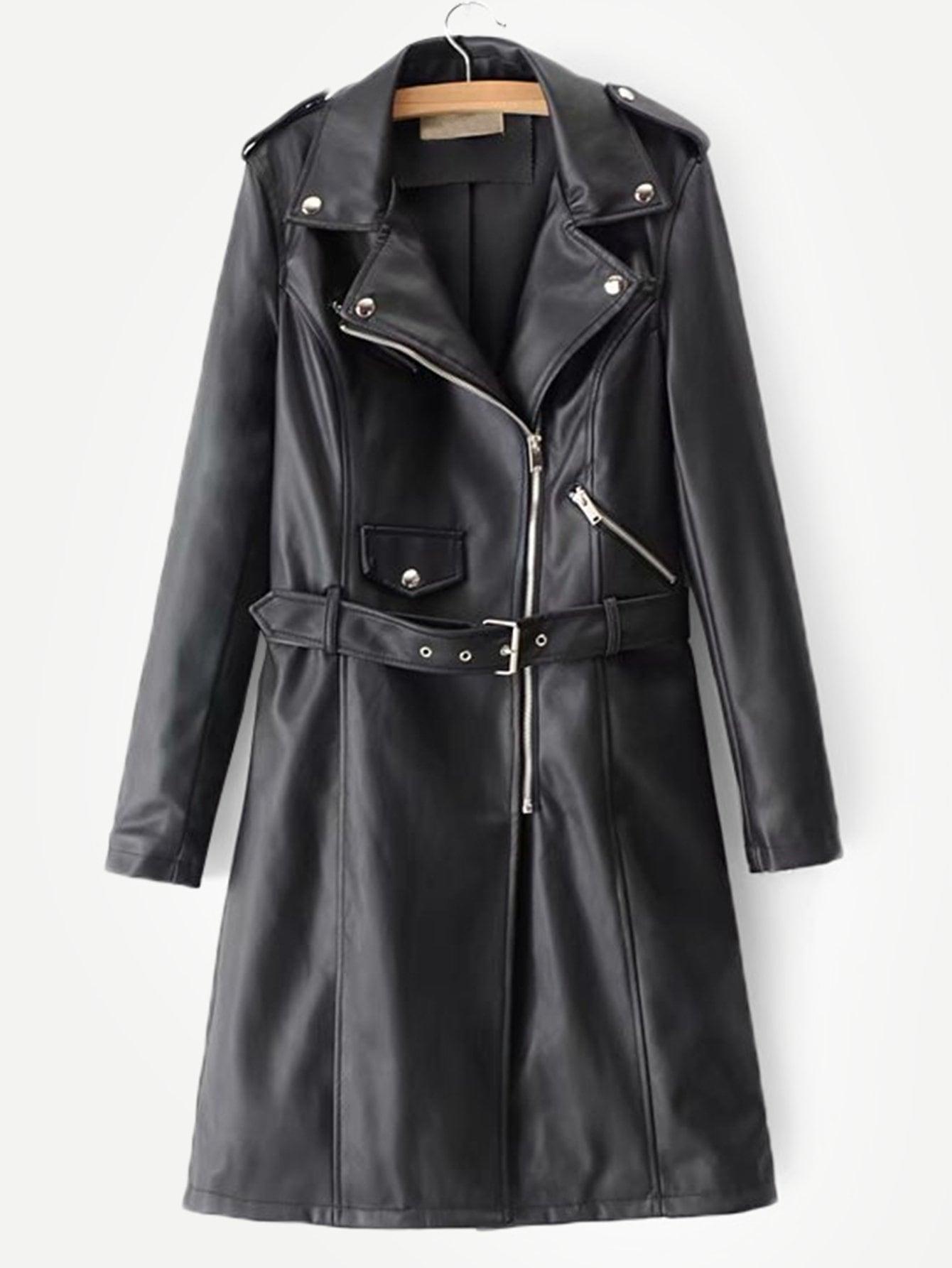 Купить Пальто с поясом и из искусственных кож, null, SheIn