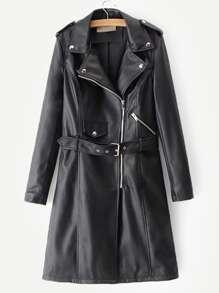 Leather | Coat | Belt | Faux