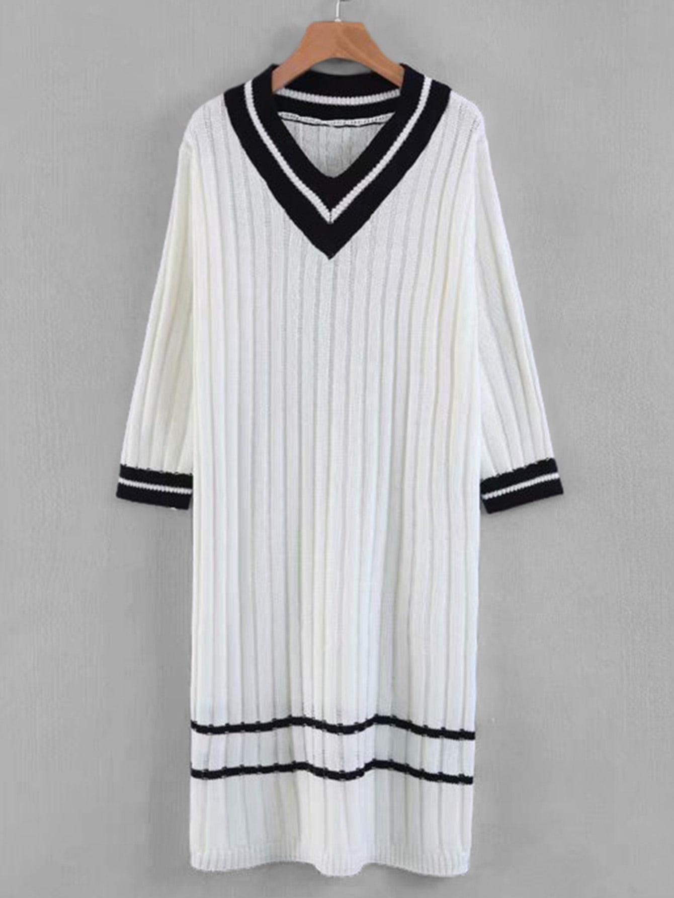 Купить Платье-фуфайка со симметрическими полосатыми оторочками и с V-образным вырезом, null, SheIn