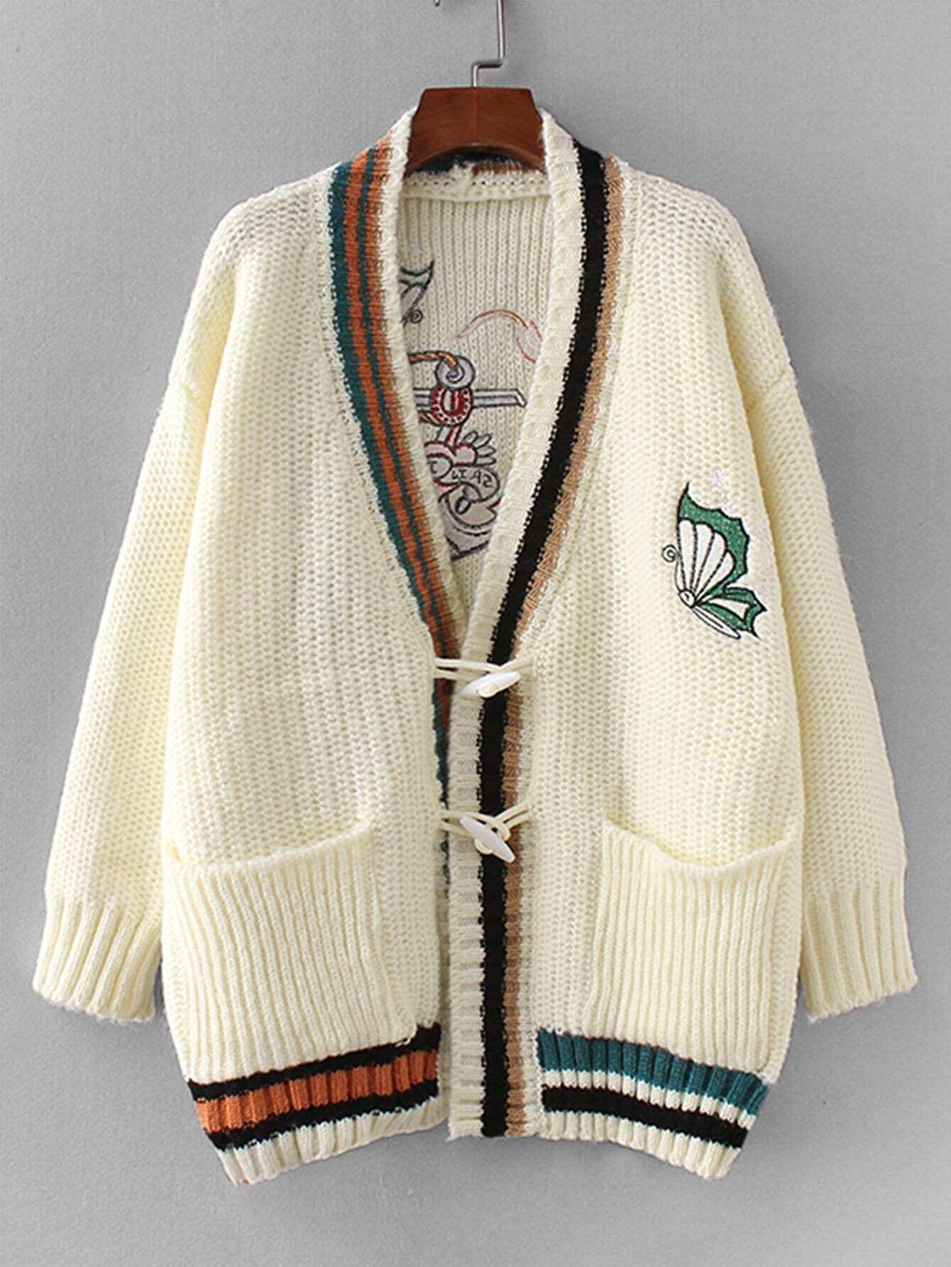 Купить Фуфайка с вышивкой и со симметрическими полосатыми оторочками, null, SheIn