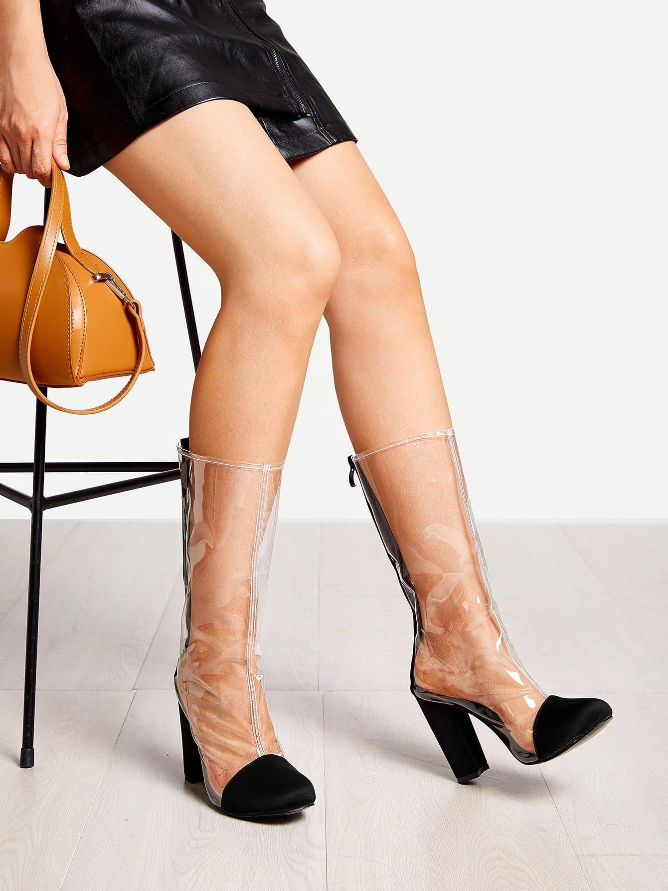 Купить Прозрачные сапоги с летним носком, null, SheIn