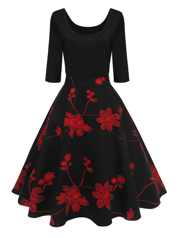 Купить Ретро Цветочный принт Чёрные Платья, null, SheIn