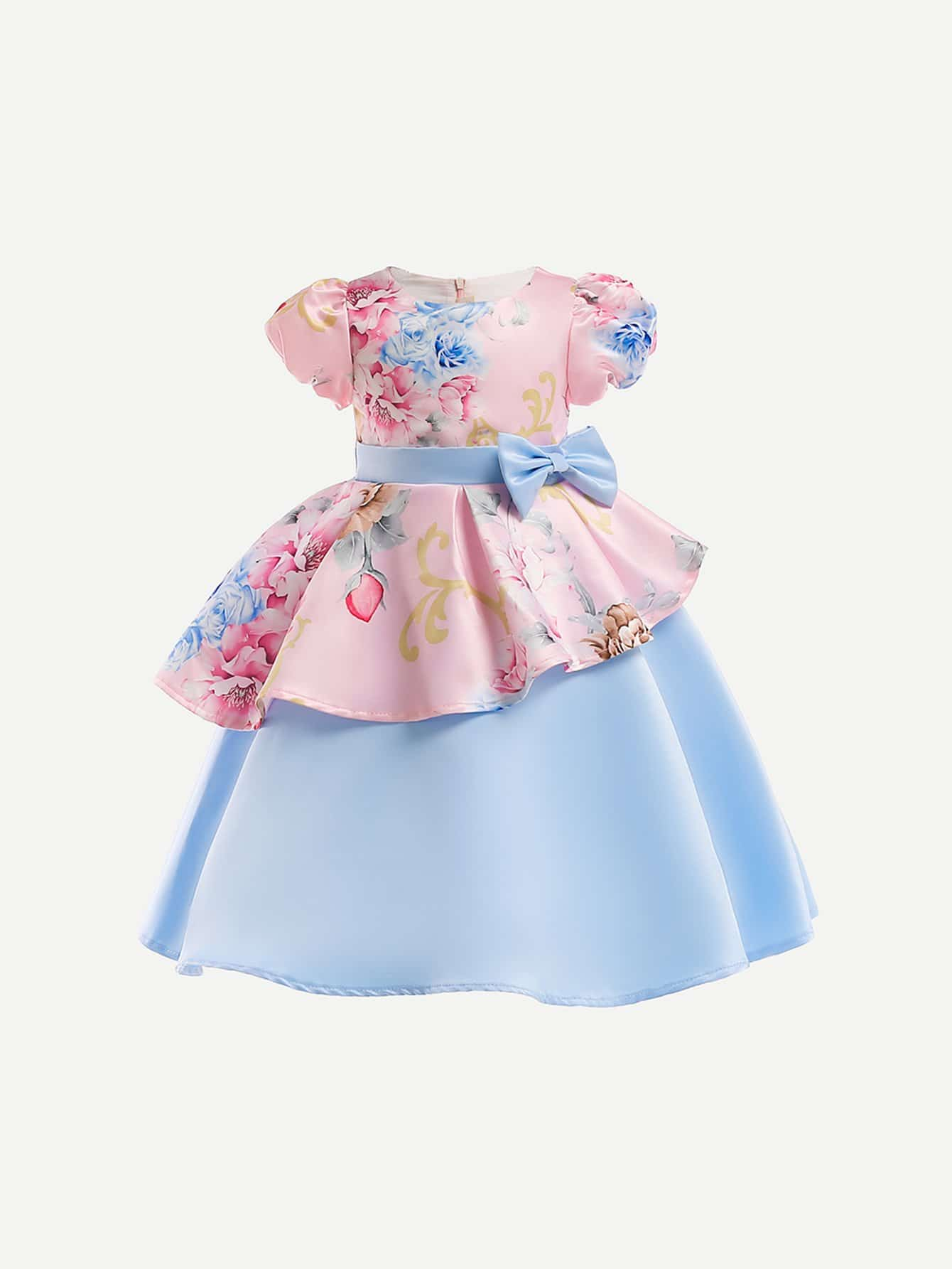 Girls Bow Detail Ruffle Hem Floral Print Dress