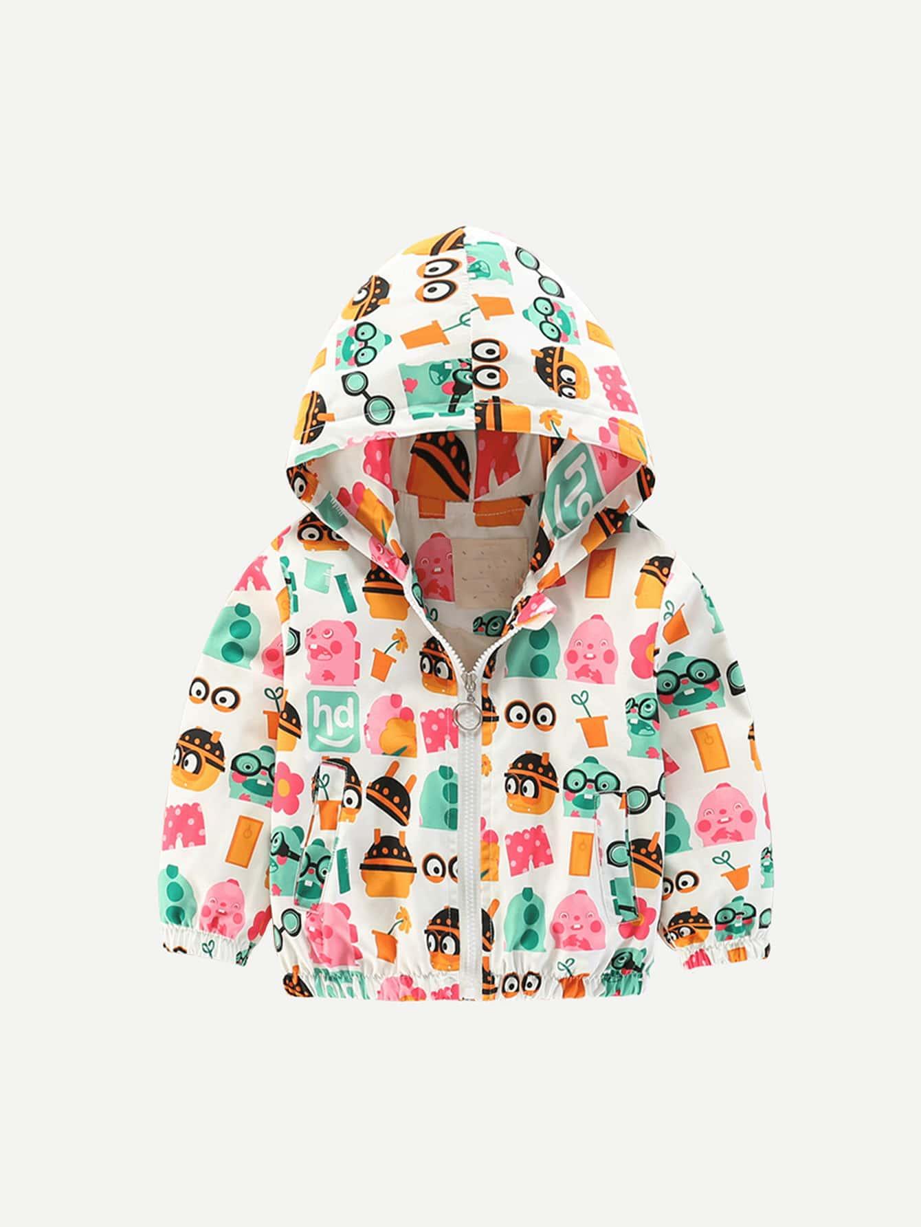 Купить Ветровка с капюшоном и рисунком мультипликаций для девочки, null, SheIn