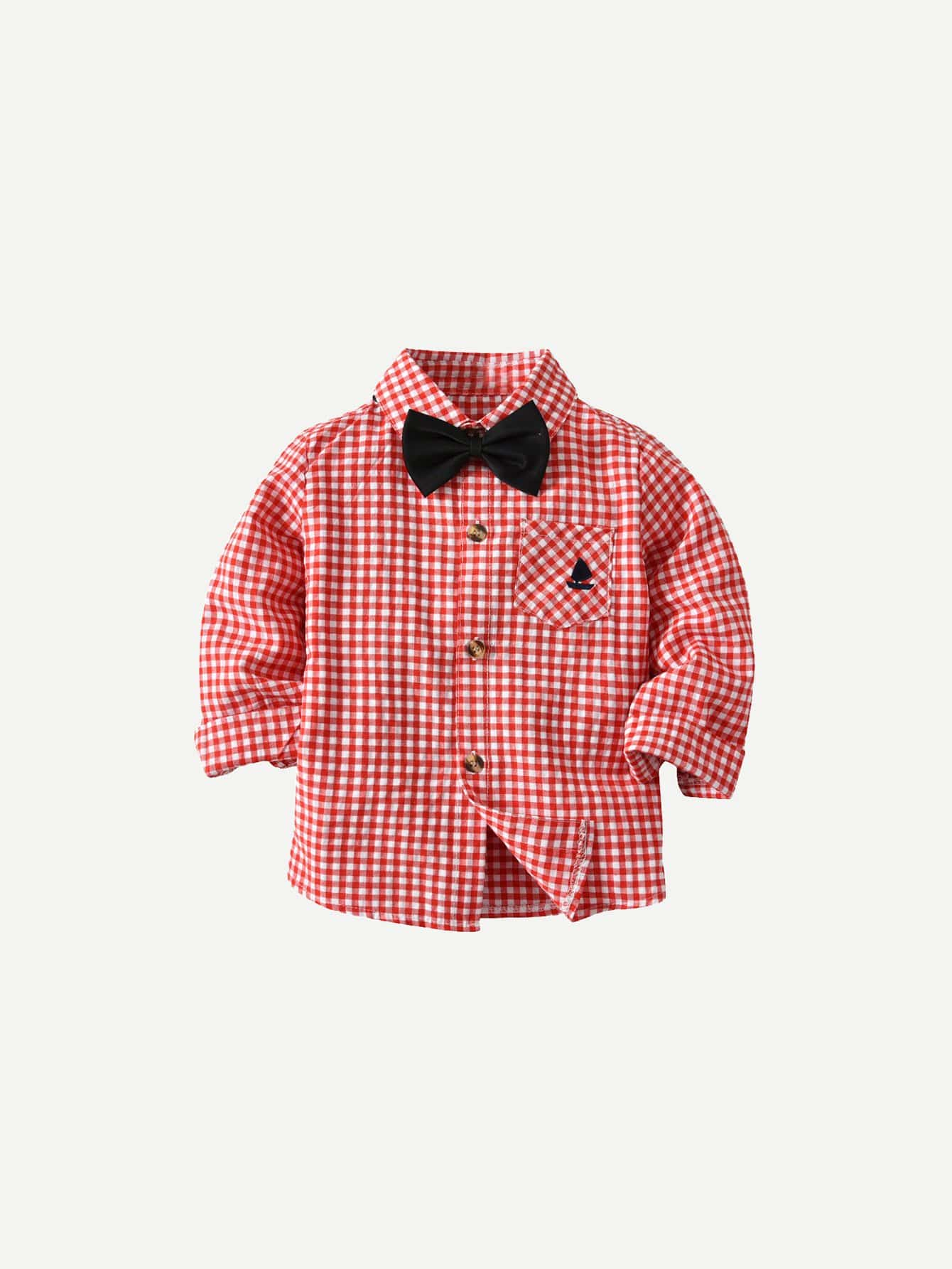 Boys Bow Front Gingham Shirt