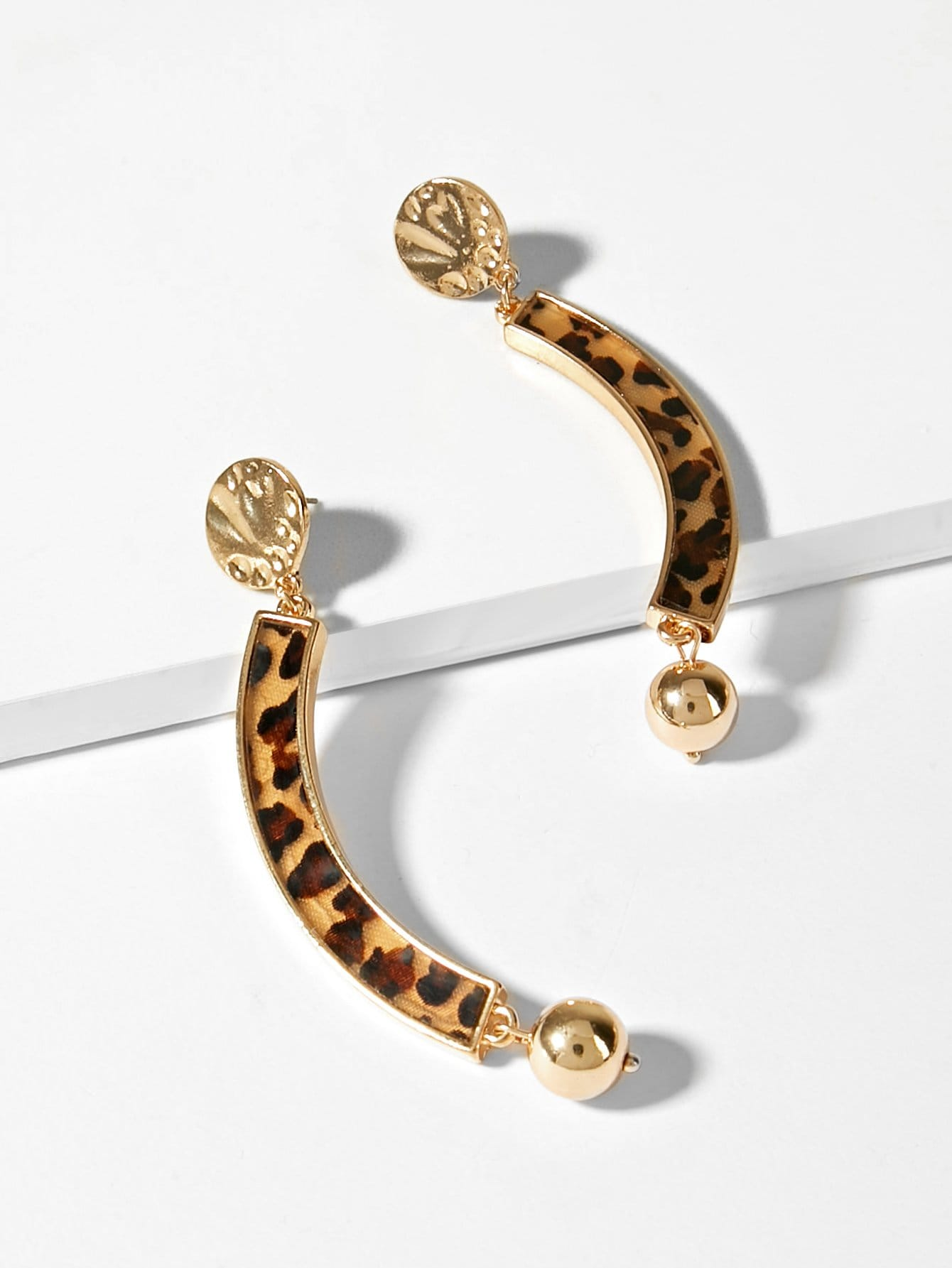 Купить Леопардовые серьги с подвеской бара, null, SheIn