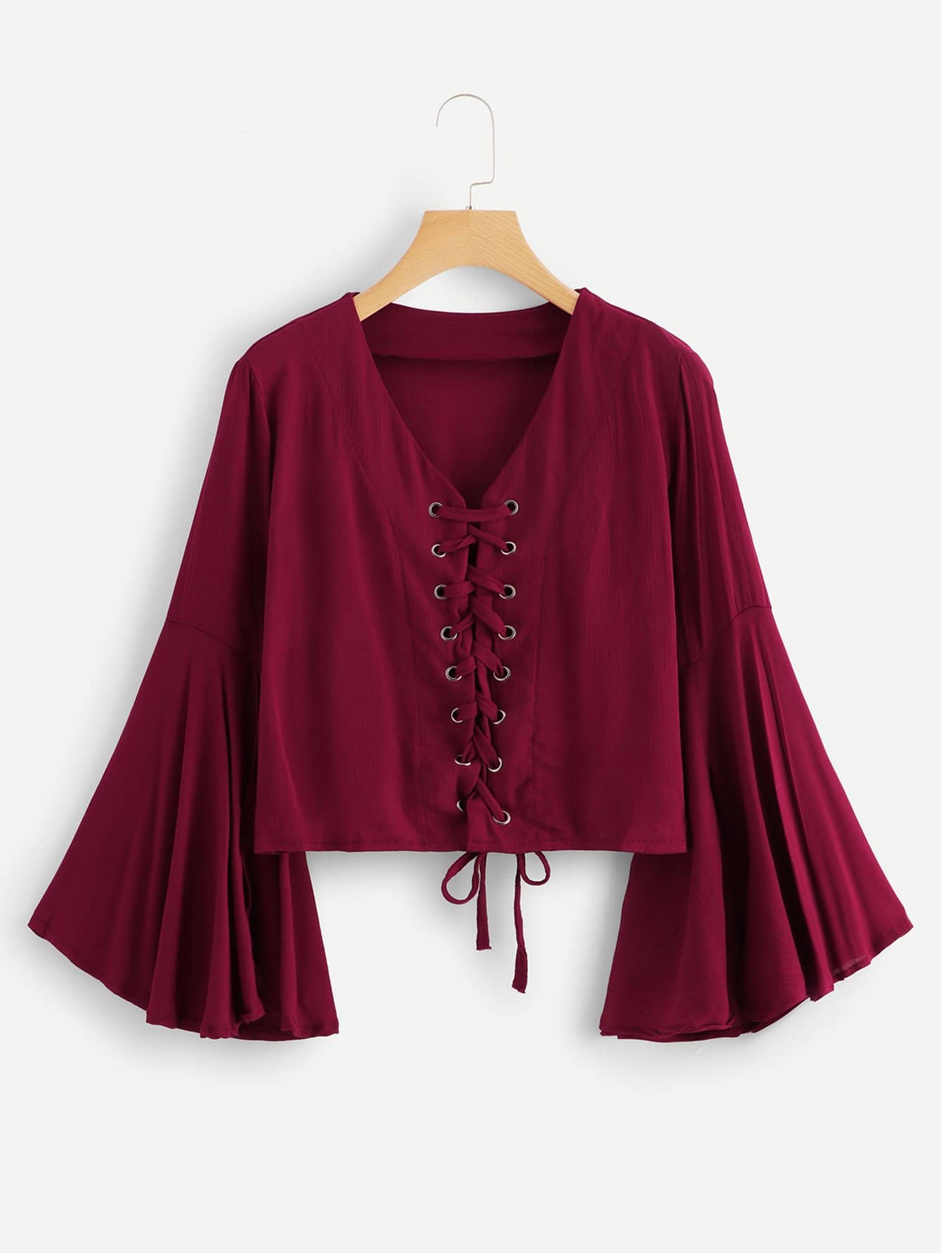 Flounce Sleeve Lace Up Blouse