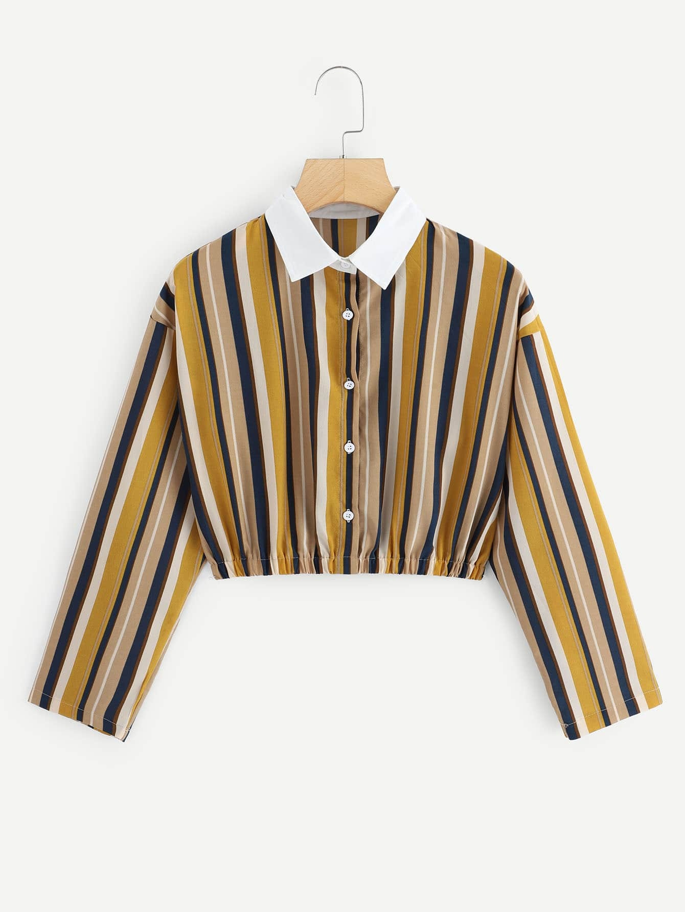 Contrast Collar Striped Blouse