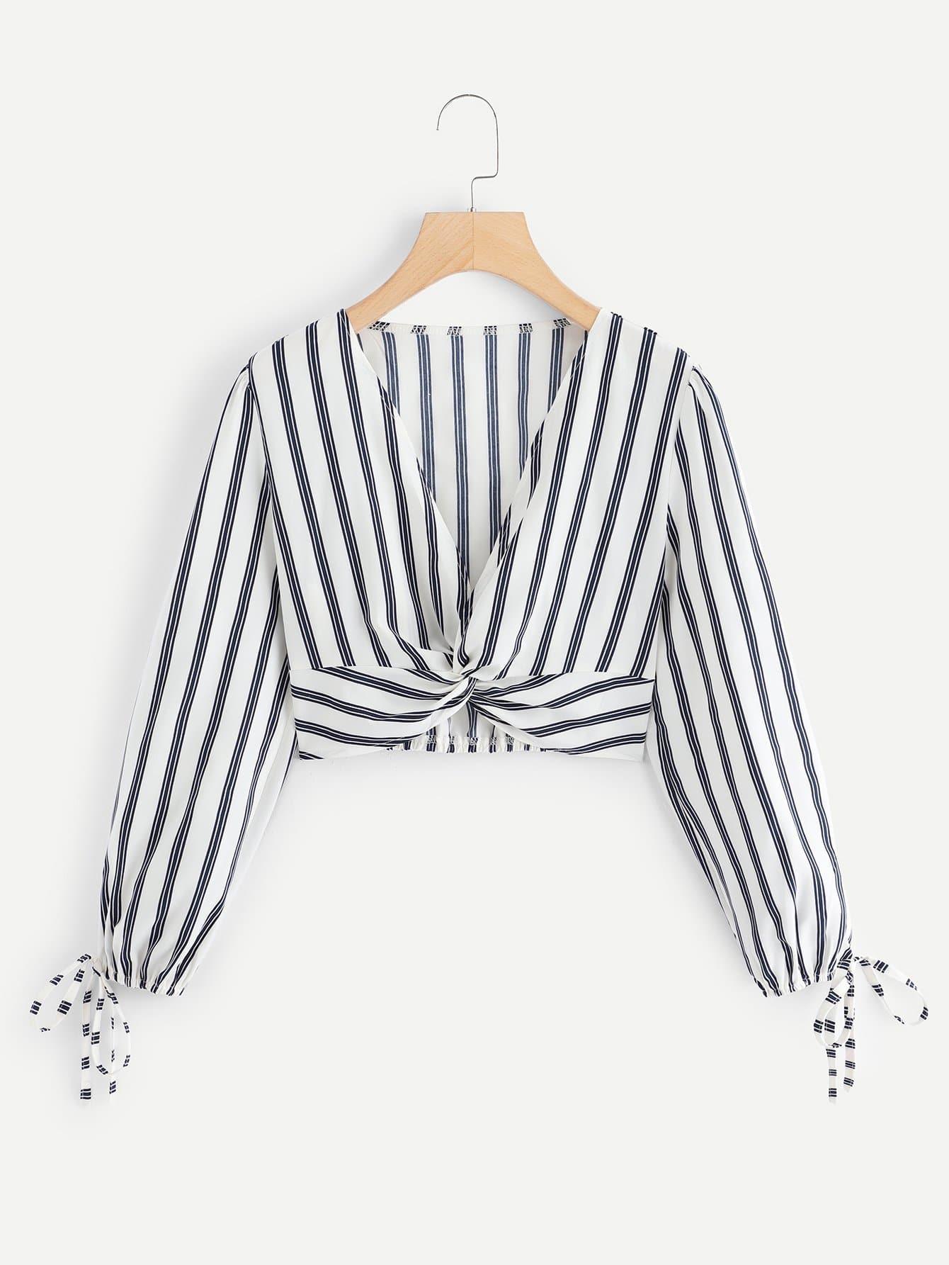 Twist Front Striped Blouse