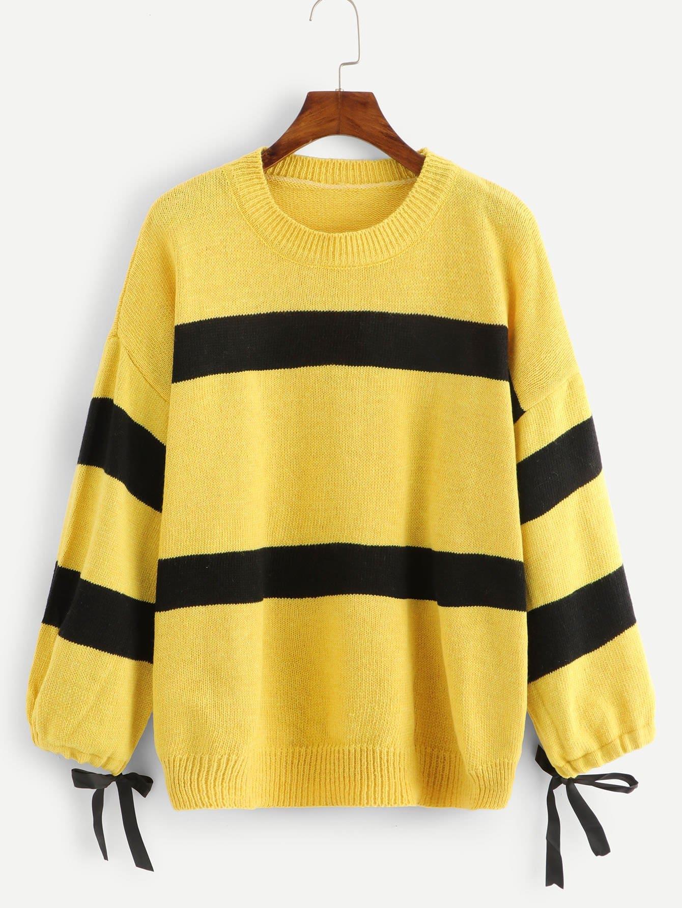 Pullover mit Knoten auf den Ärmeln und Farbblock