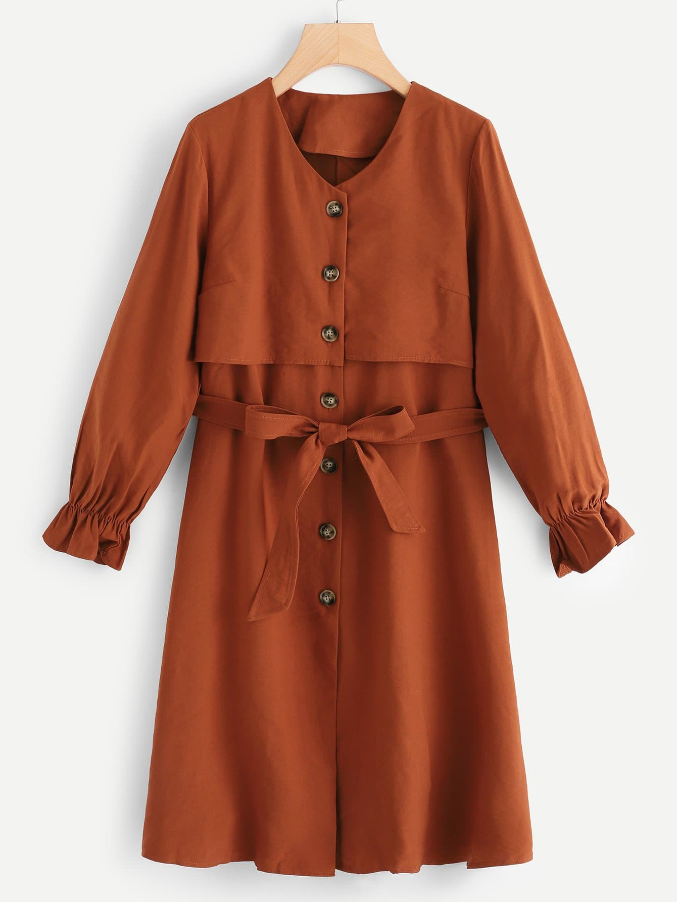 Évasée Manches Belted Trench Coat