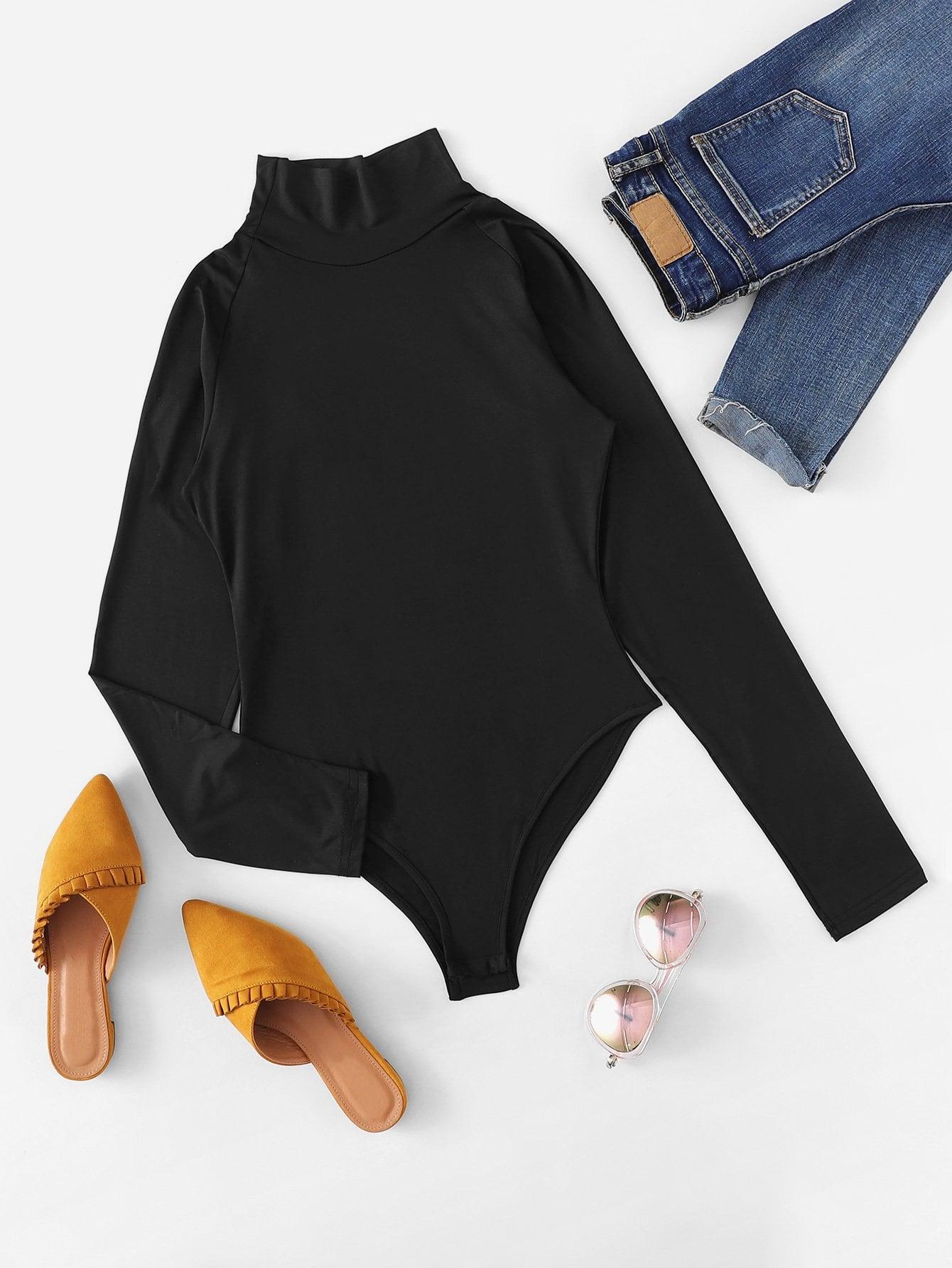 Mock Neck Raglan Sleeve Bodysuit