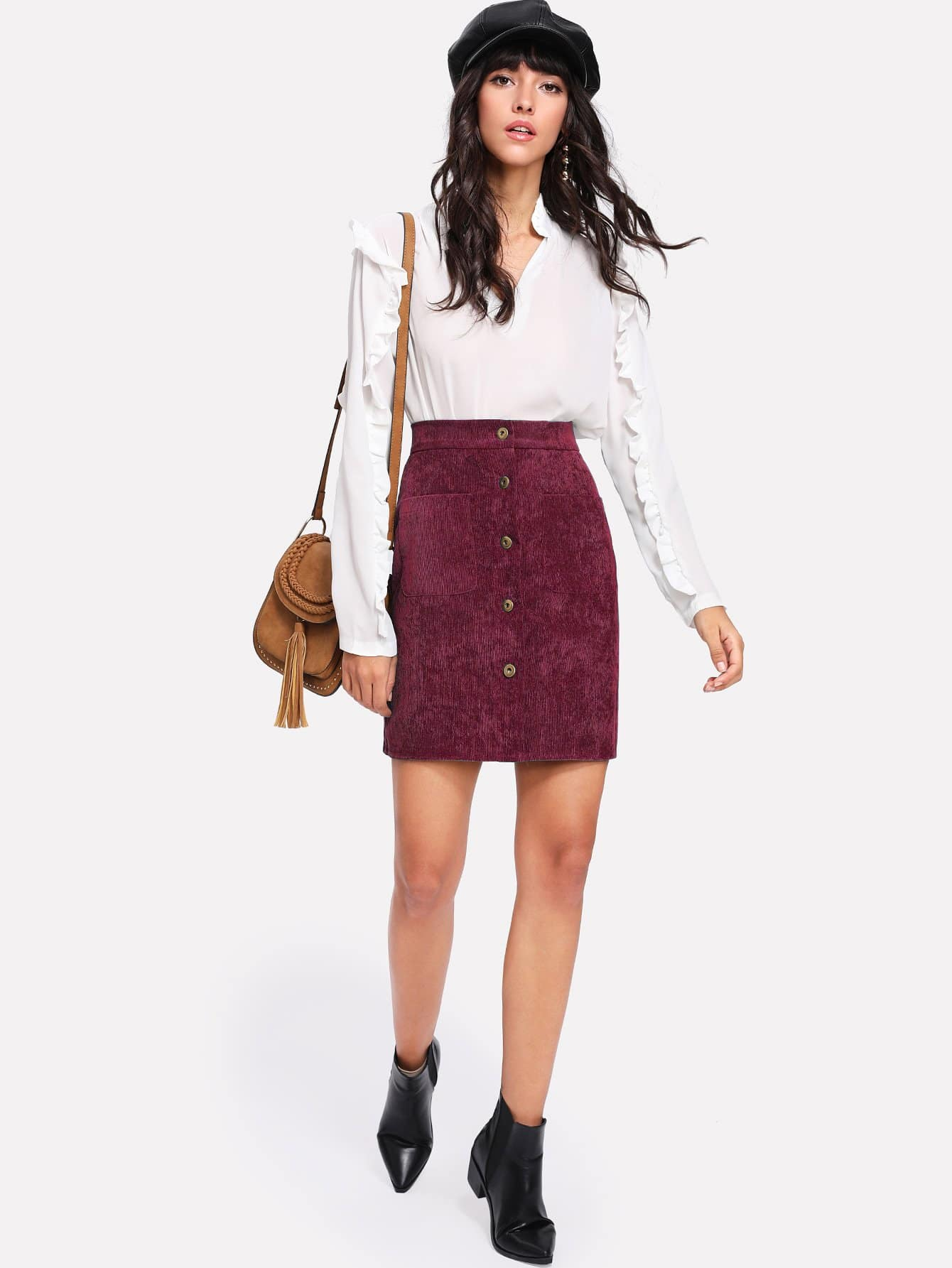 Single Breasted Pocket Solid Skirt