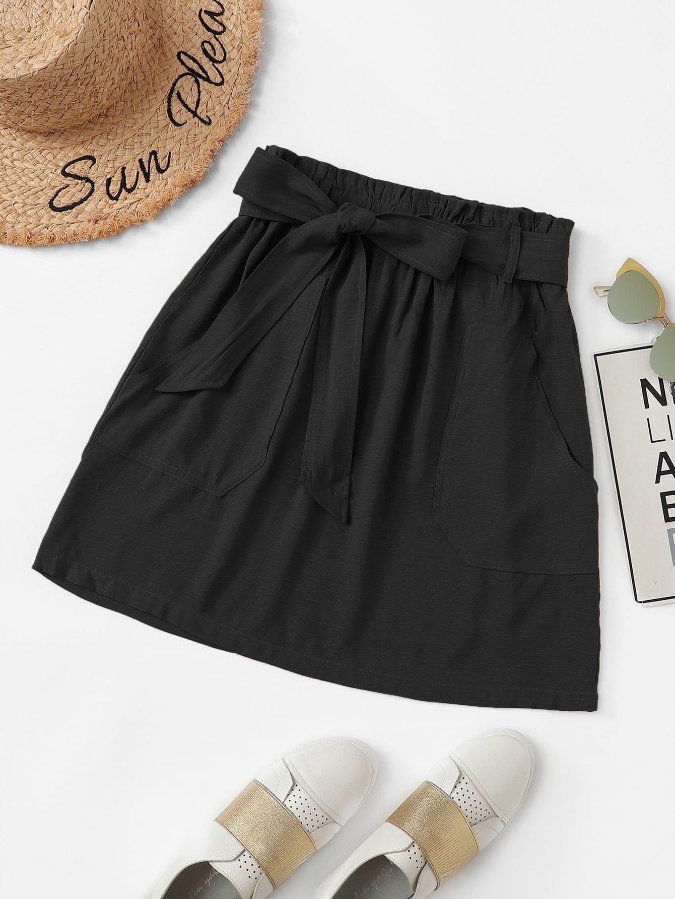 Self Tie Waist Pocket Detail Solid Skirt