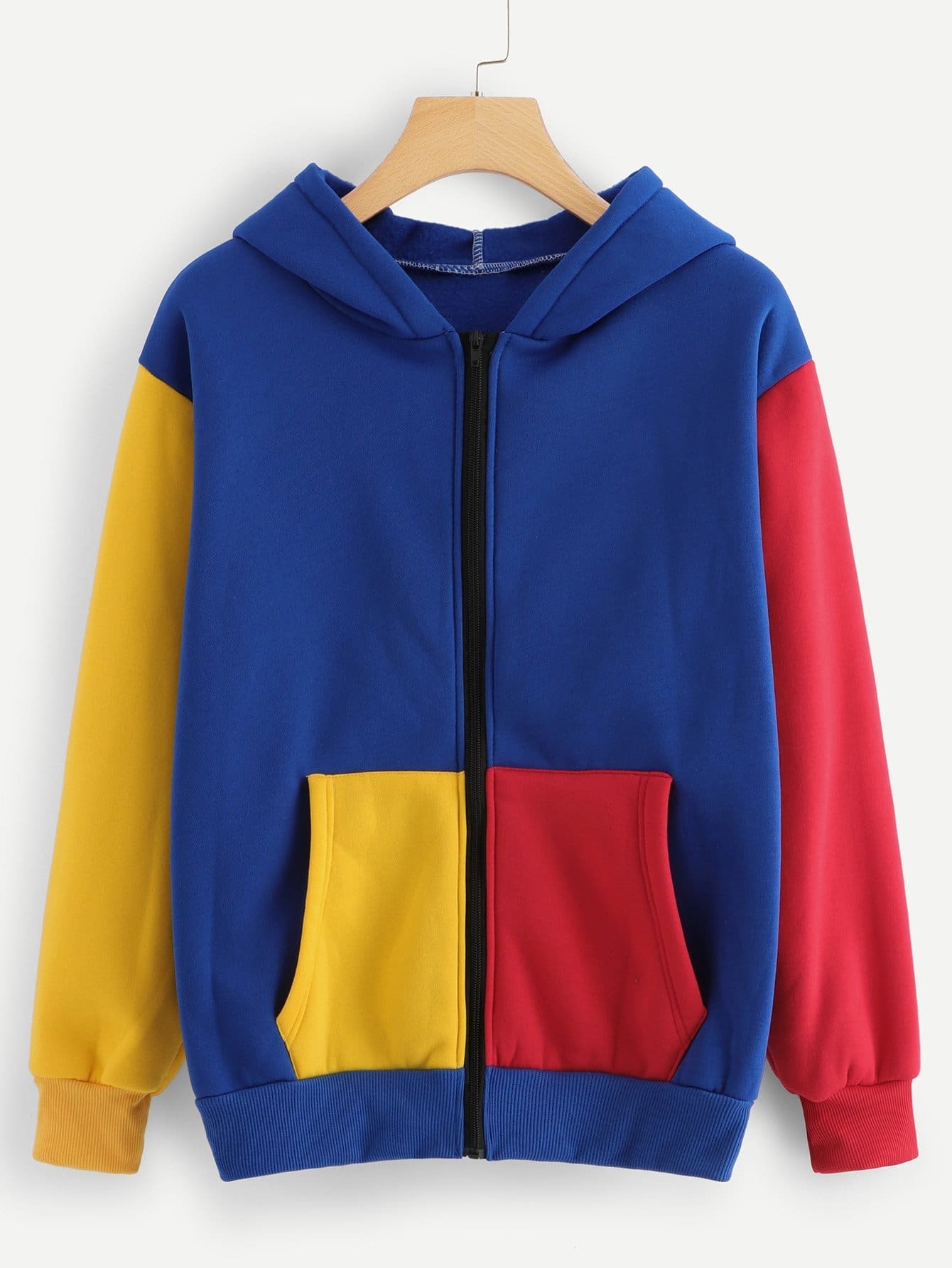Zip Up Hoodie Colorblock Sweatshirt