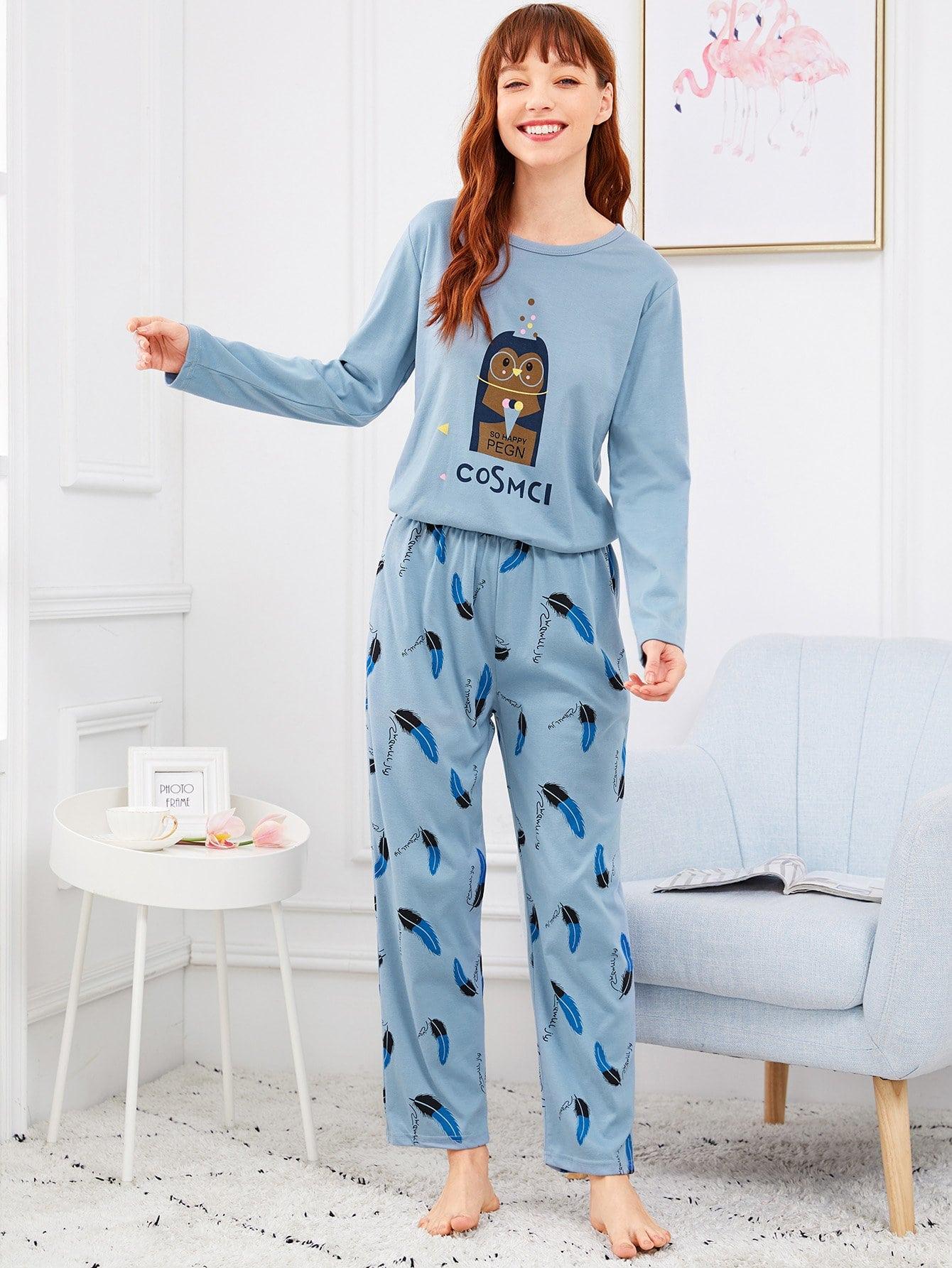 Penguin & Impression De Plume De Pyjama Set