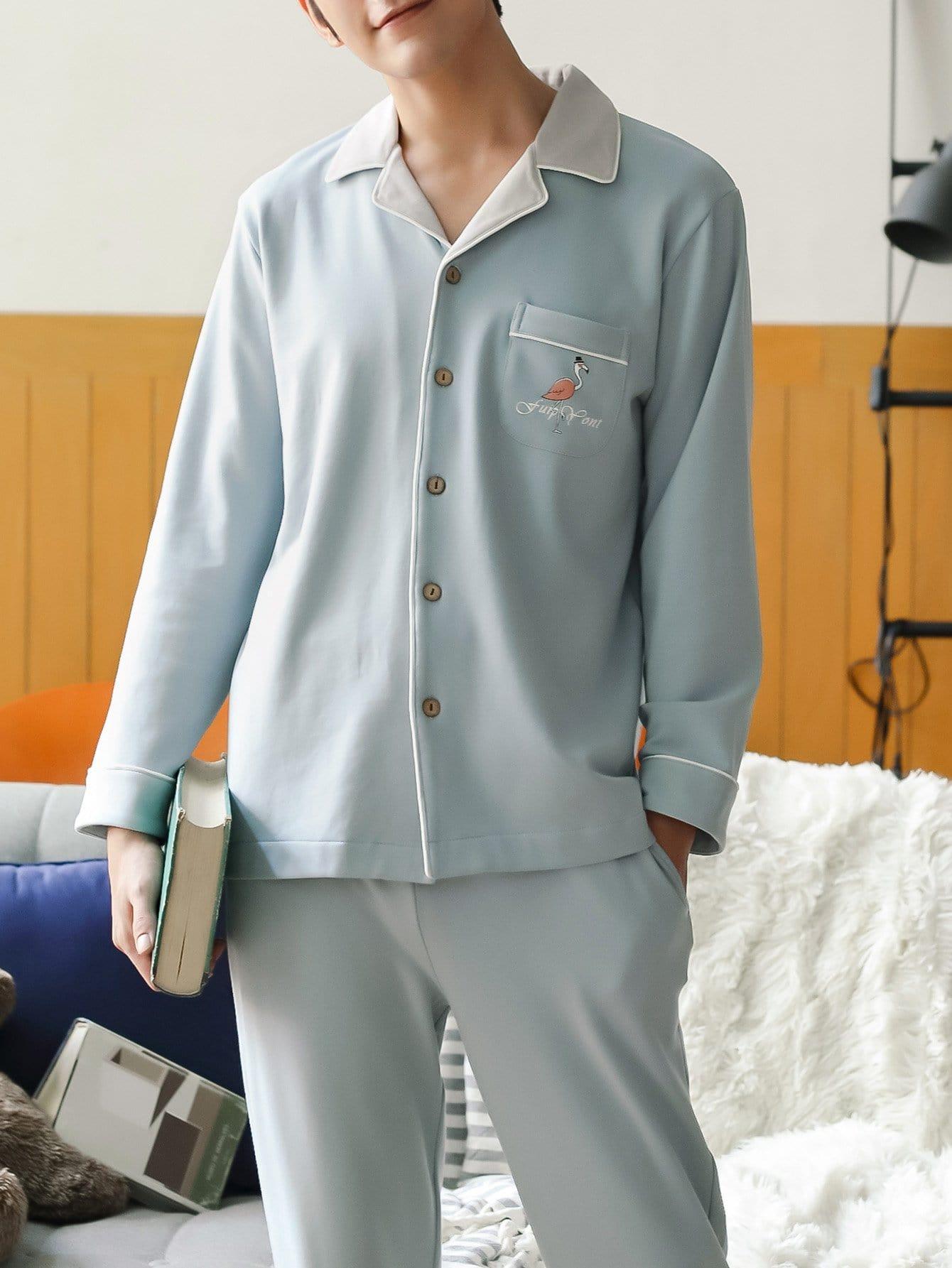 Купить Комплект пижамы с рисунками фламинго для мужчины, null, SheIn