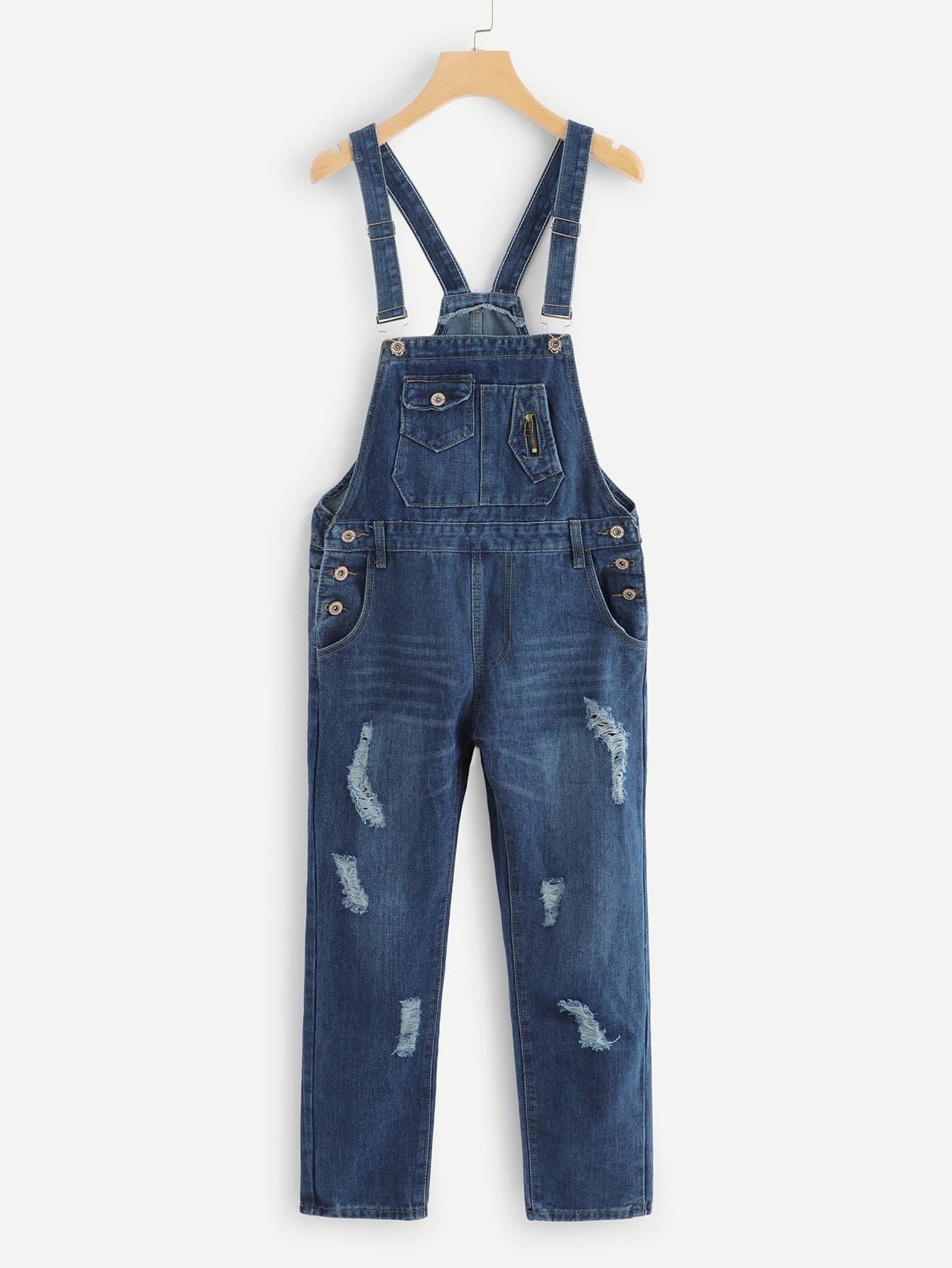 Купить Рваный джинсовый комбинезон с карманами, null, SheIn