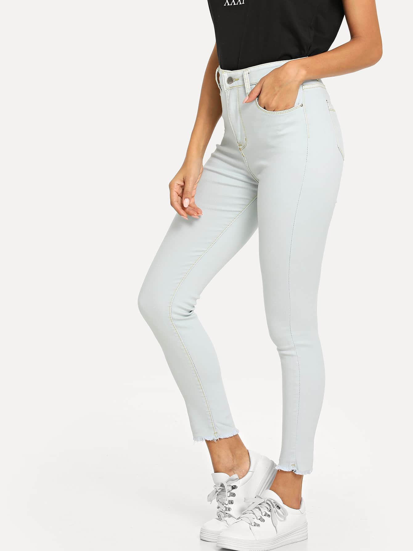 Raw Hem High Waist Jeans