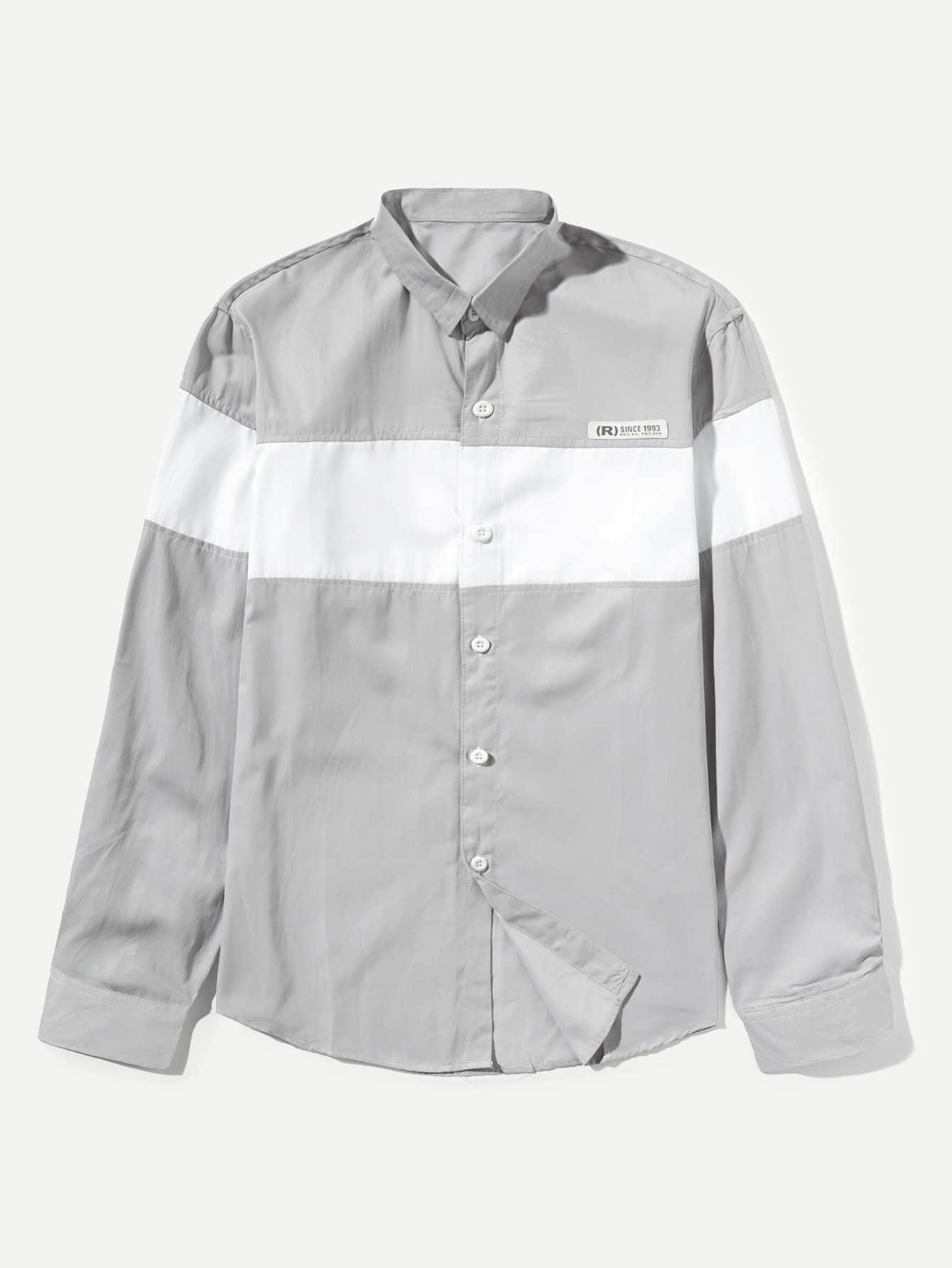 Men Curved Hem Colorblock Shirt