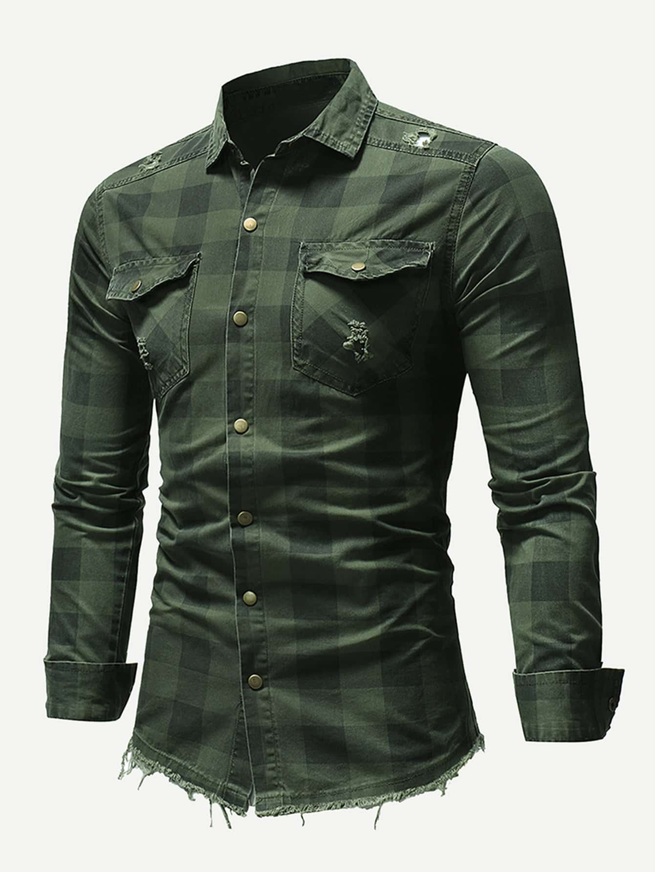 Men Ripped Detail Plaid Shirt