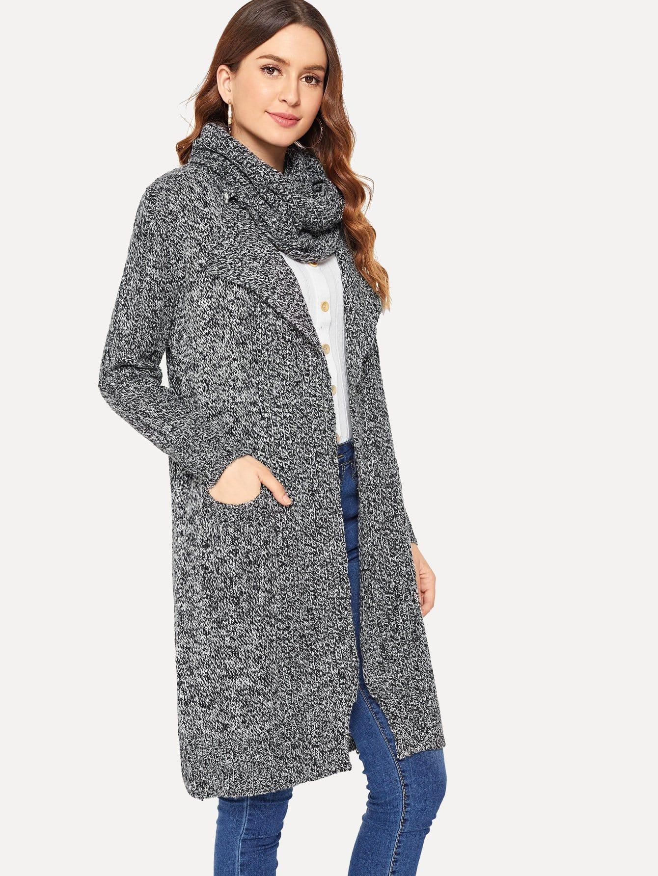 Купить Длинное вязаное пальто с украшением шарфа, Jana, SheIn