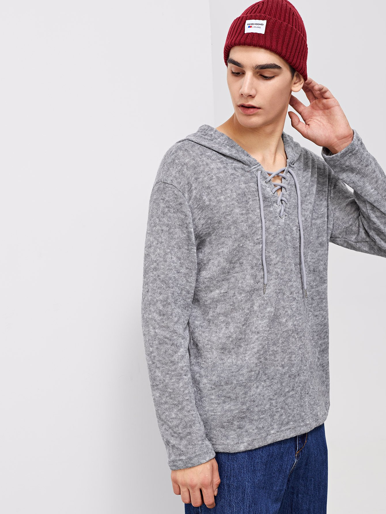 Men Lace Up Hooded Sweater