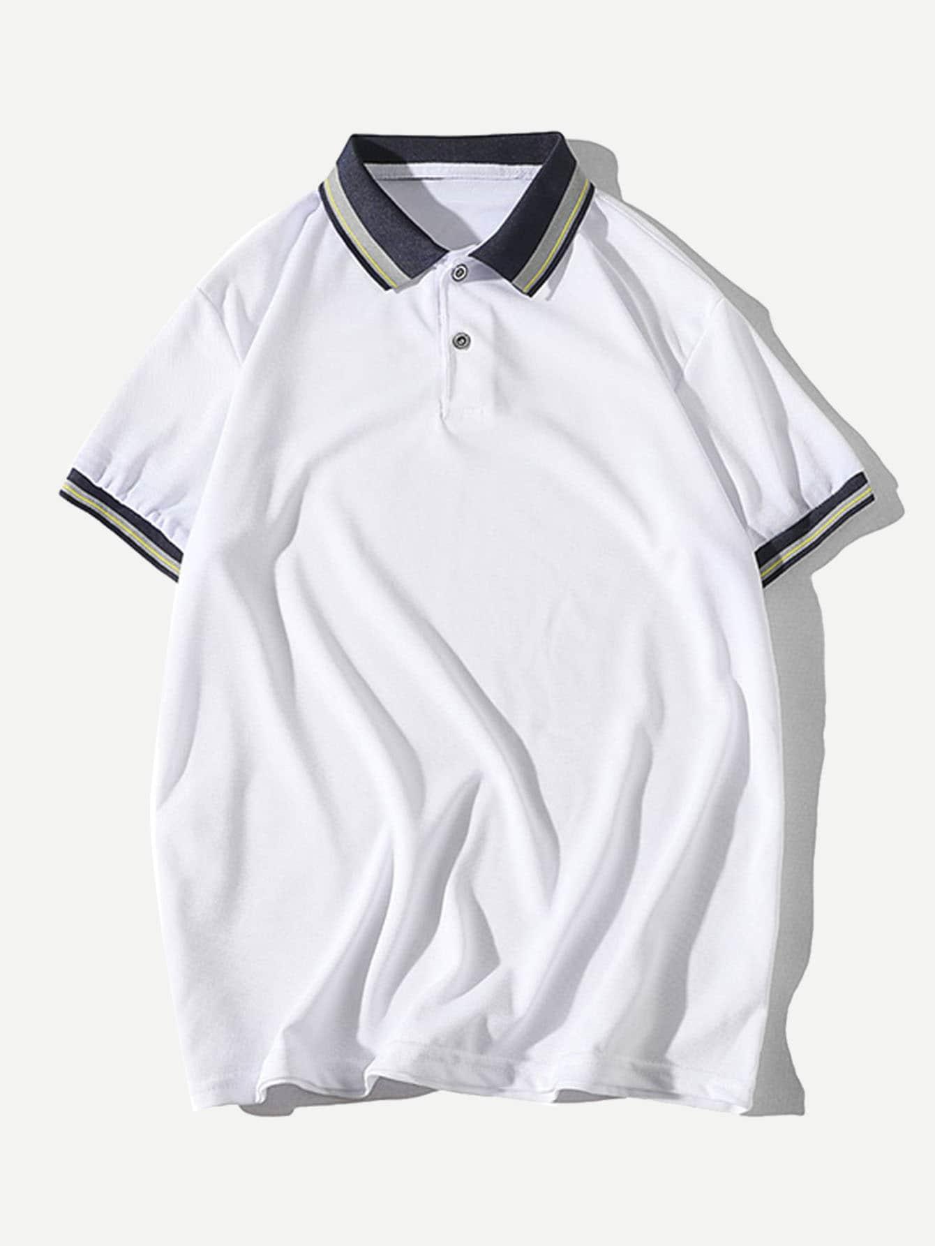 Les Hommes Garniture Rayé Polo Shirt