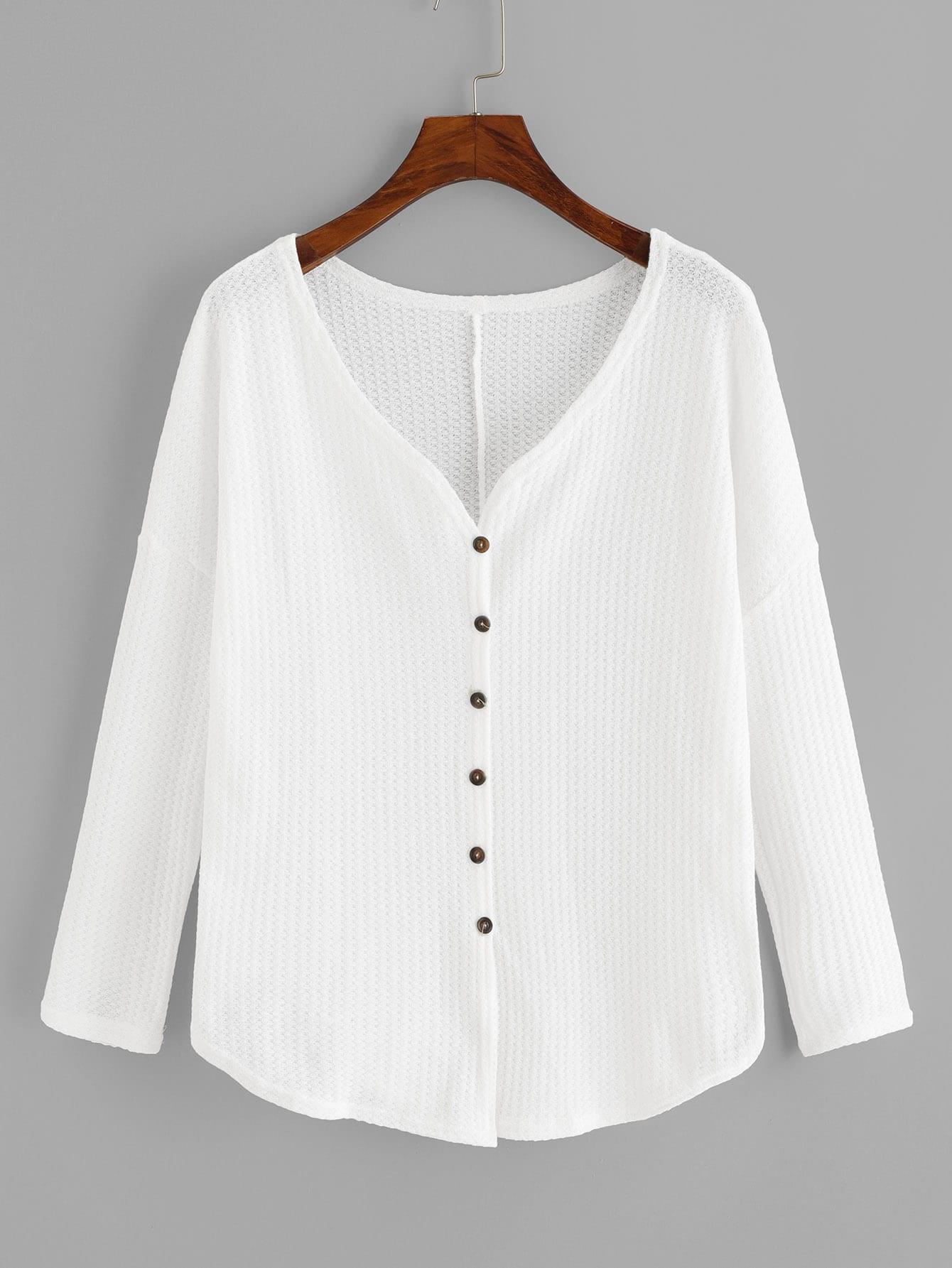 Купить Простая футболка с V-образным вырезом и с украшением пуговицы, null, SheIn
