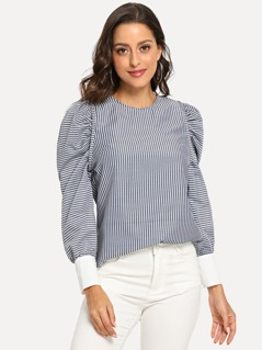 Leg-Of-Mutton Sleeve Striped Top