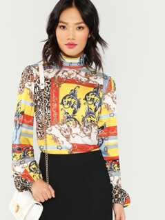 Mixed Print Mock Top
