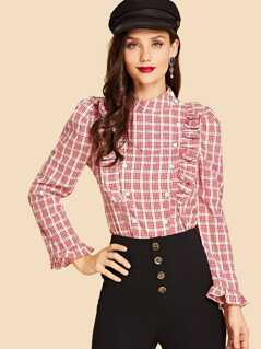 Ruffle Trim Double Button Plaid Mock Top