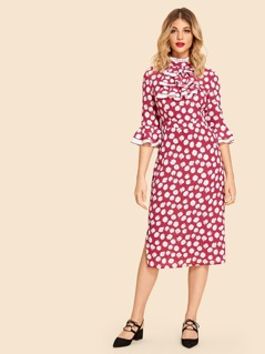Ruffle Trim Floral Print Dress