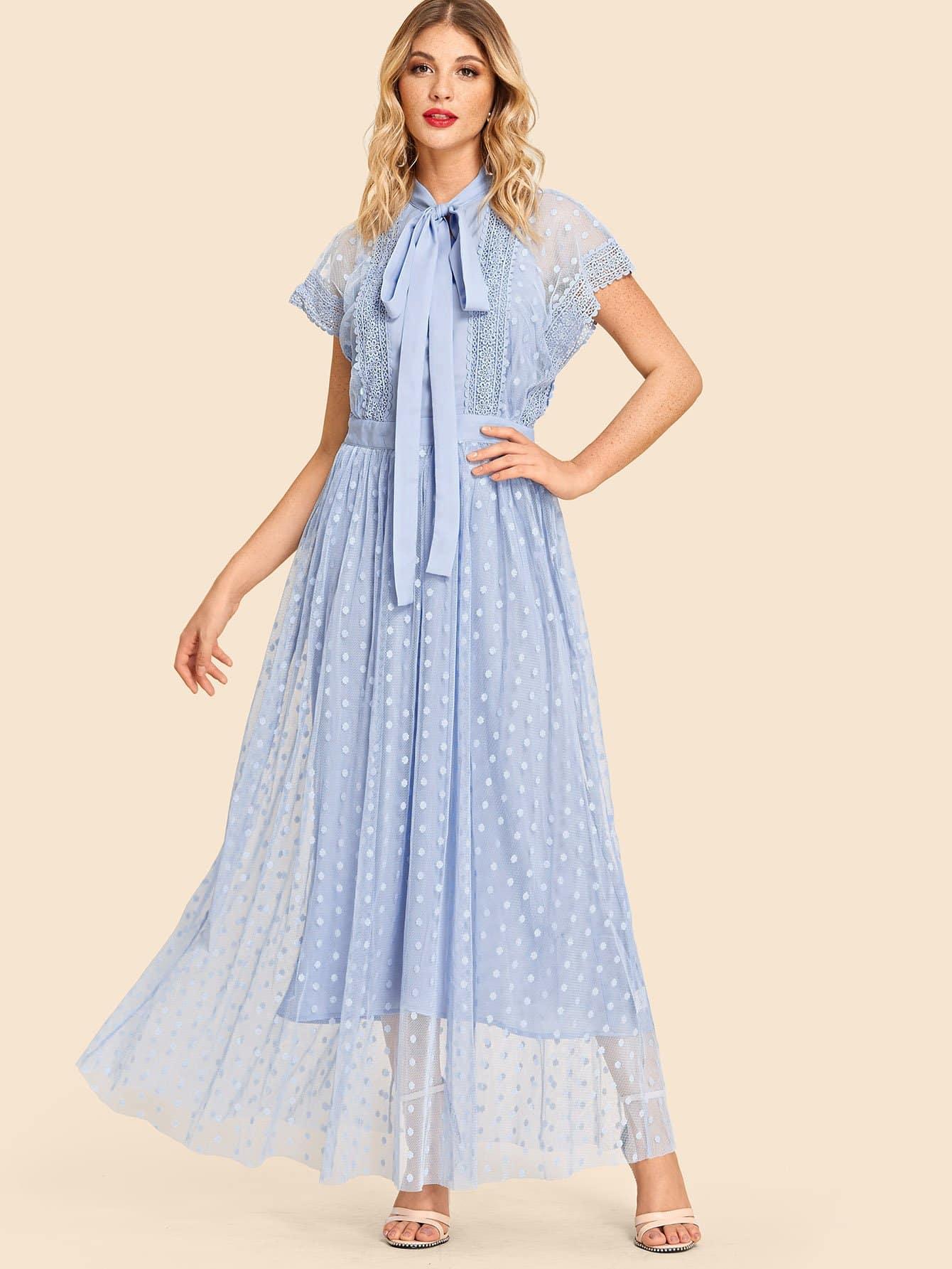 Купить Круженое сетчатое платье с рисунками точки и с воротник-бантом и с топом, Nathane, SheIn
