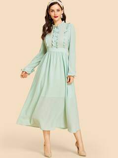 Leg-of-mutton Sleeve Buttoned Dress