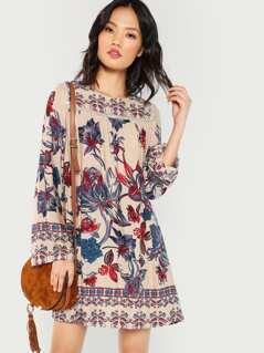 Loop Trim Floral Tunic Dress