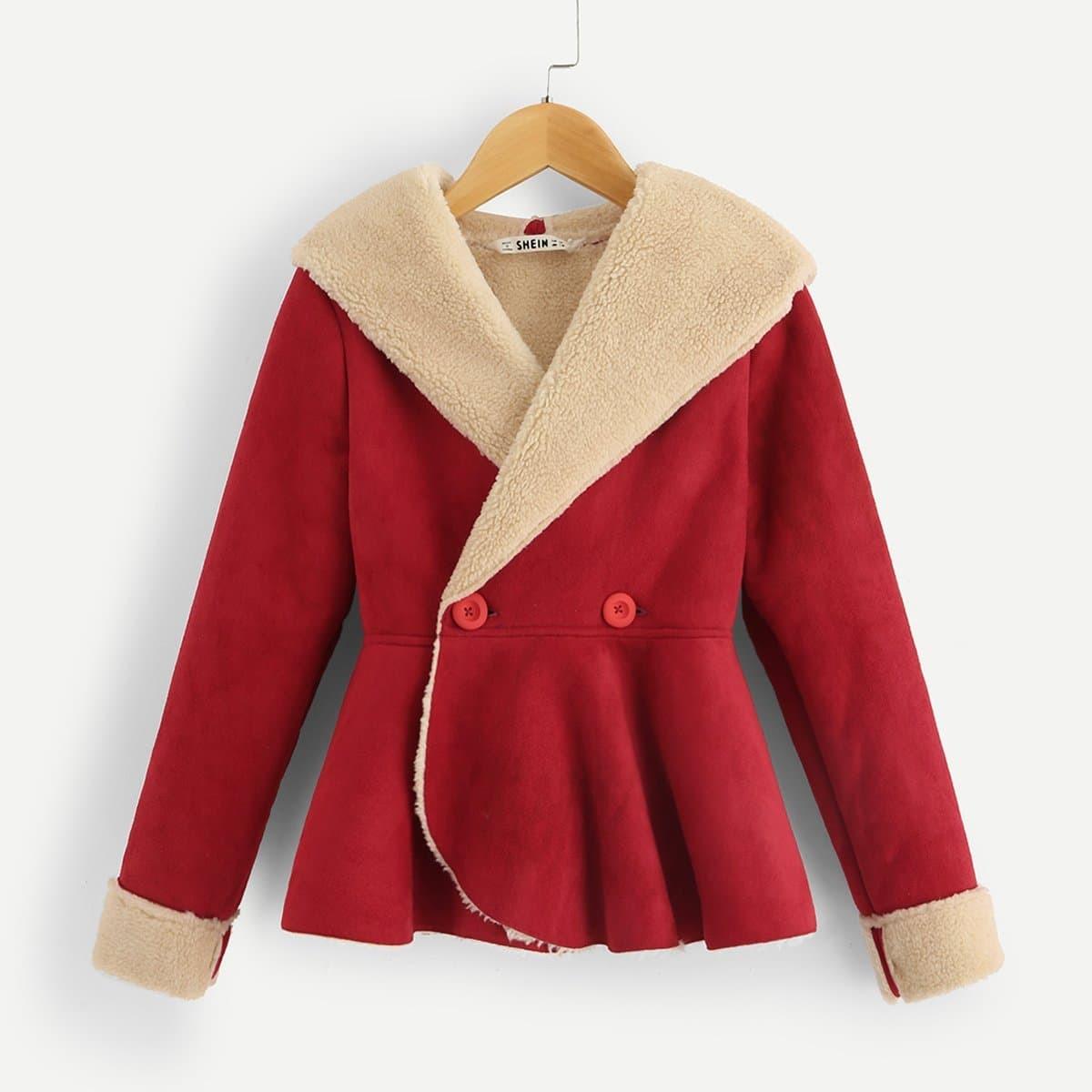 Пальто с подкладкой из флиса для девочек от SHEIN
