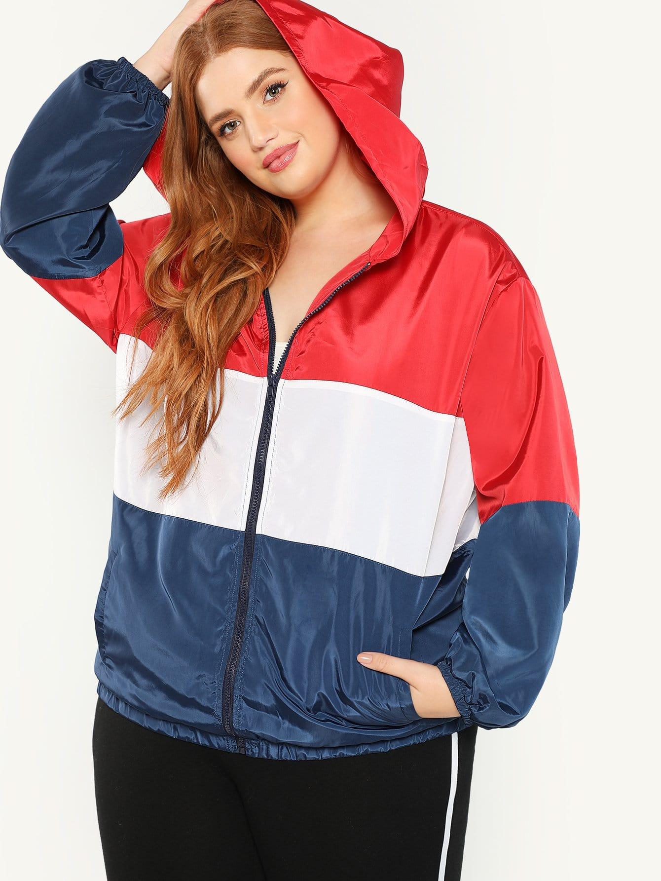 Купить Плюс размеры куртка с капюшоном, Bree Kish, SheIn