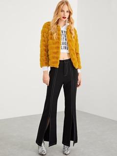 Faux Fur Solid Coat