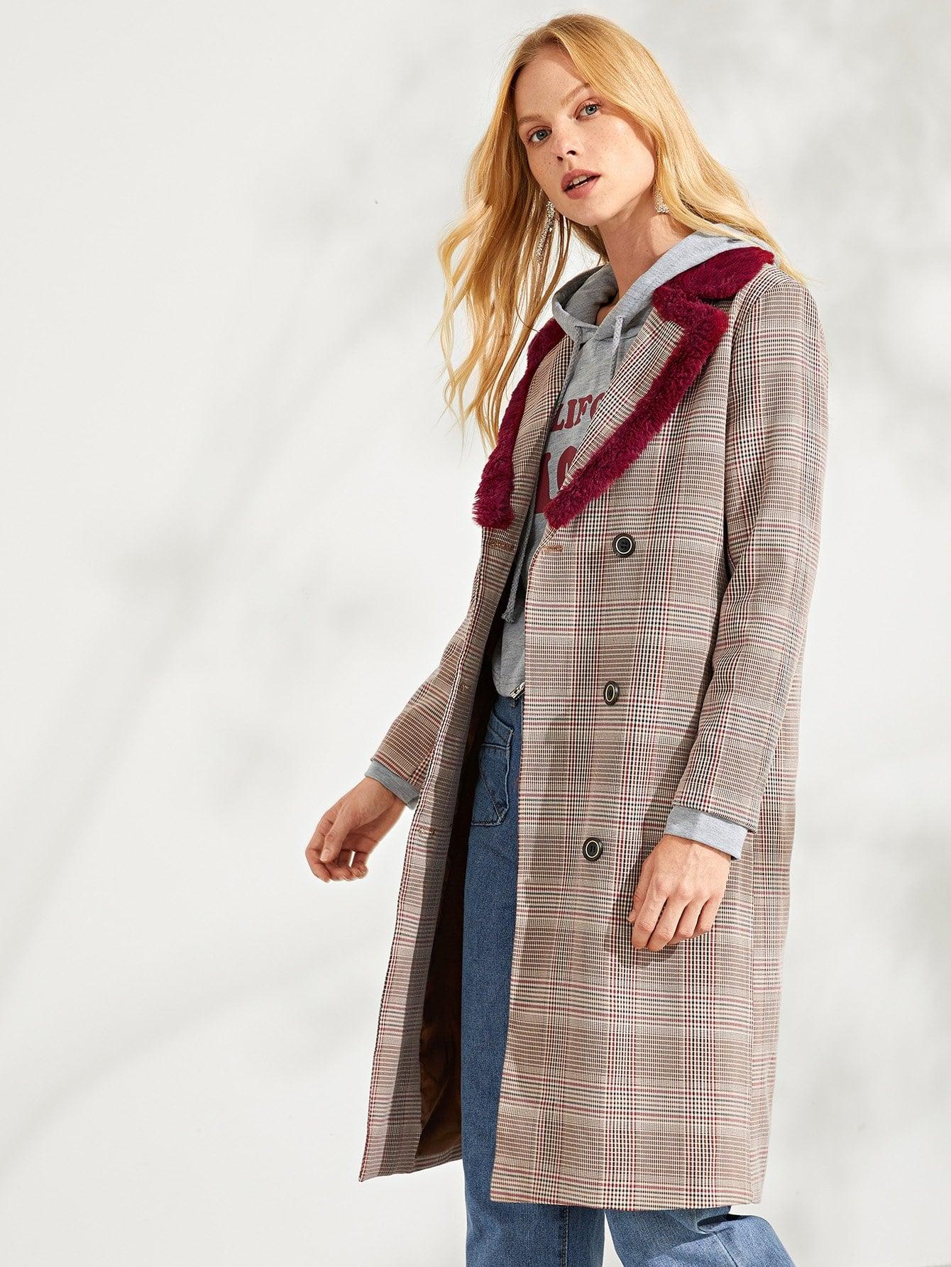 Купить Двойное бестелевое пальто, Denisa, SheIn